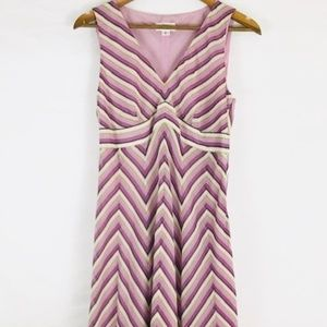 LOFT Lavender Striped Empire Waist Dress